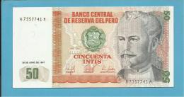 PERU - 50 INTIS - 26.06.1987 - Pick 131.b - UNC. - NICOLAS DE PIEROLA - 2 Scans - Perù