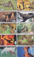 LOT De 10 TC  Japon / SERIE OVALE NUMEROTEE COMPLETE - Animal Animaux - ANIMALS Japan Phonecards - TIERE TKs - Télécartes