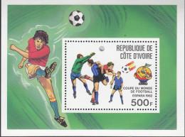 IVORY COAST, 1982 WORLD CUP MINISHEET MNH - Ivory Coast (1960-...)