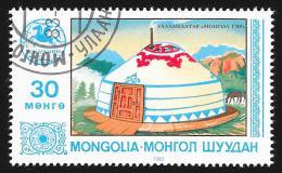 "MONGOLIA - Scott #1308 Mongolian Skin Tent ""Yurt"" / Used Stamp - Mongolei"