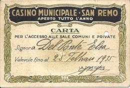 Casino Municipale San Remo Entry Pass From 1935