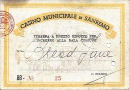 Casino Municipale San Remo Entry Pass - Casino Cards
