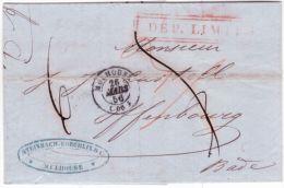 1856- Lettre De Mulhouse ( Ht Rhin ) Cad T15 Pour Offenbourg ( Bade )  DEP. LIMITE Encadré - Storia Postale