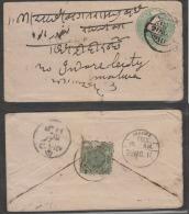 Hyderabad  1911 - 1/2A Stamp On India KE  1/2A PS Envelope Combination Usage To Indoee   # 87490  Inde  Indien - Hyderabad