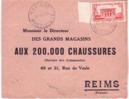1934- Enveloppe Affr. à 50 C  Oblit.  Rotoplan  De LORRAIN /  MARTINIQUE  Pour Reims - Martinica (1886-1947)