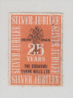 India  1964  Godavaru Shugar Mills  Label  Used   # 86628  Inde Indien - Factories & Industries