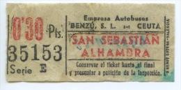 BILLETE DE BUS DE CEUTA ( ESPAÑA) // 1954 // AFRICA - Bus