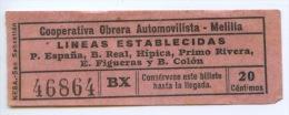 BILLETE DE BUS DE MELILLA ( ESPAÑA) // 1950 // AFRICA - Bus