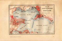 1889 - Gravure Sur Bois En Couleurs - Toulon (Var) - Plan Du Port Et Des Deux Rades - FRANCO DE PORT - Stiche & Gravuren
