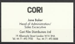 Cori  Film Distributors,  London. - Tarjetas De Visita