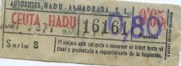 BILLETE DE BUS DE CEUTA ( ESPAÑA) // 1952 // AFRICA - Bus