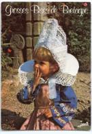 Folklore De Bretagne - Grosses  Bises - Fillette En Costume De FOUESNANT - écrite Et Timbrée (pour Jeux) - 2 Scans - Costumes
