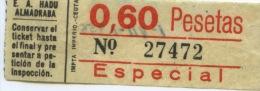 BILLETE DE BUS DE CEUTA ( ESPAÑA) // 1956 // AFRICA - Bus