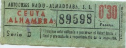 BILLETE DE BUS DE CEUTA ( ESPAÑA) // 1955 // AFRICA - Bus