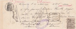 Lettre Change Manuscrite 10/101899 LIBOURNE Gironde Filigrane 1898 - Cachet Banque De France + Bonnefon Banquier - Bills Of Exchange