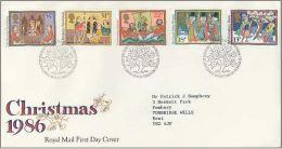 GB 1986 CHRISTMAS FDC SG 1342-46 MI 1092-96 SC 1163-67 IV 1248-1252 - Covers & Documents