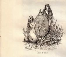 1889 - Gravure Sur Bois D´après Karl - Cannes (Alpes-Maritimes) - Les Armes De La Ville - FRANCO DE PORT - Stiche & Gravuren