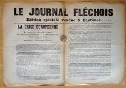 Guerre De 1914-18.  Le Journal Fléchois. N° 2. Août 1914. La Flèche. - Documents