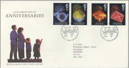 GB 1989 ANNIVERSARIES FDC SG 1432-35 MI 1198-201 SC 1252-55A IV 1376-1379 - Covers & Documents