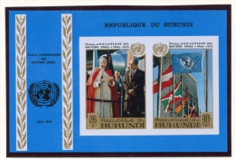 Burundi, 1970, United Nations Anniversary, MNH Imperforated Souvenir Sheet, Michel Block 43B - Non Classés