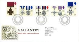 GB 1990 GALLANTRY FDC SG 1517-21 MI 1290-94 SC 1331-35 IV 1484-1488 - Covers & Documents
