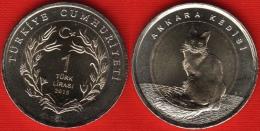 """Turkey 1 Lira 2015 """"Turkish Angora Cat"""" BiMetallic UNC - Turquie"""