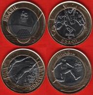 "Brazil Set Of 4 Coins: 1 Real 2014 ""Rio Olympics 2016"" BiM. UNC - Brésil"
