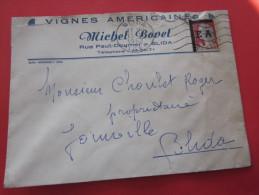 LETTRE ENTETE VIGNE AMERICAINES BLIDA 1962>JOINVILLE BLIDA ALGERIE EX COLONIE PARIS SURCHARGE EA étude état Algerien RR - Algeria (1924-1962)