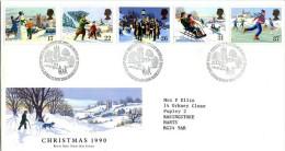 GB 1990 CHRISTMAS FDC SG 1526-30 MI 130-04 SC 1340-44 IV 1494-1498 - Covers & Documents