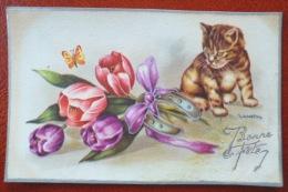 Litho Illustrateur GOLO GOUGEON CHAT Chaton Regardant Papillon Bouquet Tulipe Fer A Cheval Argent  Voeux Fete - Gougeon