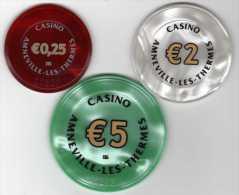 Lot De 3 Jetons De Casino Amneville-les-Thermes €0,25 €2 €5 - Casino