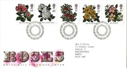 GB 1991 ROSES FDC SG 1568-72 MI 1345-49 SC 1382-86 IV 1551-1555 - 1952-.... (Elizabeth II)