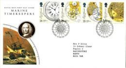 GB 1993 MARINE TIMEKEEPERS FDC USED SG 1654-57 MI 1441-44 SC 1489-92 IV 1660-1663 - 1952-.... (Elizabeth II)