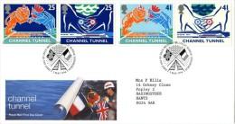 GB 1994 CHANNEL TUNNEL FDC USED SG 1820-23 MI 1513-16 SC 1558-61A IV 1758-1761 - 1952-.... (Elizabeth II)