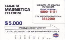 TARJETA DE COLOMBIA DE TELECOM DE $5000 CONOZCA LOS SERIVICIOS DE TELECOM - Colombia