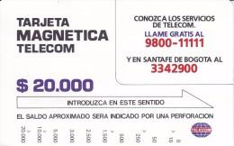 TARJETA DE COLOMBIA DE TELECOM DE $20000 CONOZCA LOS SERIVICIOS DE TELECOM - Colombia