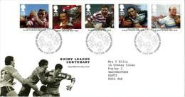 GB 1995 RUGBY LEAGUE FDC USED SG 1891-95 MI 1591-96 SC 1629-33 IV 1837-1841 - 1952-.... (Elizabeth II)