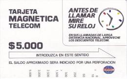 TARJETA DE COLOMBIA DE TELECOM DE $5000 ANTES DE LLAMAR MIRE SU RELOJ - Colombia