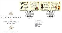 GB 1996 ROBERT BURNS FDC SG 1901-04 MI 1601-04 SC 1639-42 IV 1847-1850 - 1952-.... (Elizabeth II)