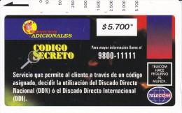 TARJETA DE COLOMBIA DE TELECOM DE $5700 CODIGO SECRETO - Colombie