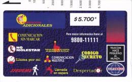 TARJETA DE COLOMBIA DE TELECOM DE $5700 SERVICIOS ADICIONALES - Colombie