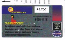TARJETA DE COLOMBIA DE TELECOM DE $5700 MARCACION ABREVIADA (RARA) - Colombia