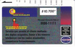 TARJETA DE COLOMBIA DE TELECOM DE $10700 MARCACION ABREVIADA (RARA) - Colombia
