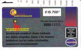 TARJETA DE COLOMBIA DE TELECOM DE $15700 MARCACION ABREVIADA (RARA) - Colombia