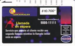 TARJETA DE COLOMBIA DE TELECOM DE $10700 LLAMADA EN ESPERA (RARA) - Colombia