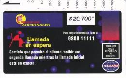 TARJETA DE COLOMBIA DE TELECOM DE $20700 LLAMADA EN ESPERA (RARA) - Colombia
