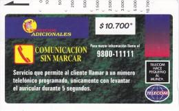 TARJETA DE COLOMBIA DE TELECOM DE $10700 COMUNICACION SIN MARCAR - Colombia