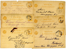 Hungary 6 Old Stationeries Pmk. Nagyigmánd, Jászberény, Alcsuth, ?, Bonyhád, Esztergom Travelled 1880s Bb151103 - Postwaardestukken