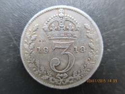3 Pence Georges V, 1918, TB - 1902-1971 : Monete Post-Vittoriane