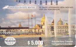 TARJETA DE COLOMBIA DE TELECOM DE $5000 ARQUITECTURA COLONIAL, CARTAGENA - Colombia